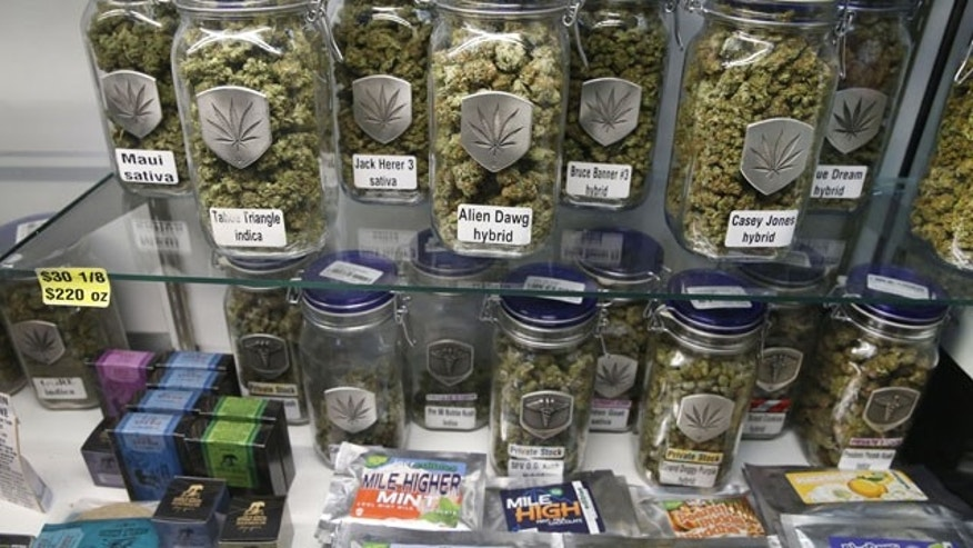 December 27, 2013: Marijuana and cannabis-infused products are displayed for sale at Medicine Man marijuana dispensary, which is to open as a recreational retail outlet at the start of 2014, in Denver. (AP)
