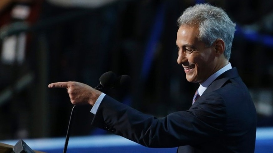 Sept. 4, 2012: Chicago Mayor Rahm Emanuel points to delegates at the Democratic National Convention in Charlotte, N.C.