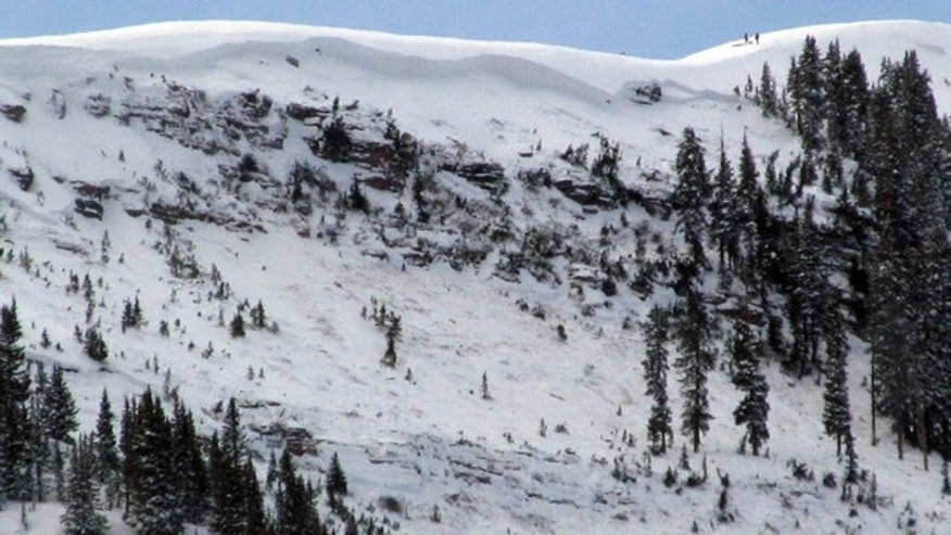 January 7, 2014: This photo provided by the Eagle County (Colo.) Sheriff's Office shows the aftermath of an avalanche that killed one person and injured three others in the East Vail Chutes in the back country outside of Vail Mountain's ski boundary near Vail, Colo. (AP Photo/Eagle County Sheriff)