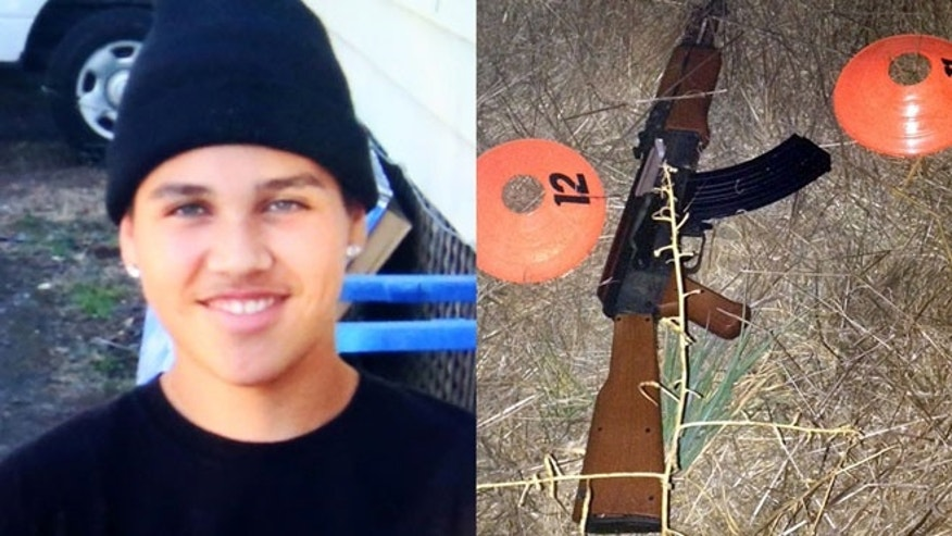 FILE: An undated photo of 13-year-old Andy Lopez and the replica assault rifle he was holding when he was shot and killed by two Sonoma County deputies in Santa Rosa, Calif.
