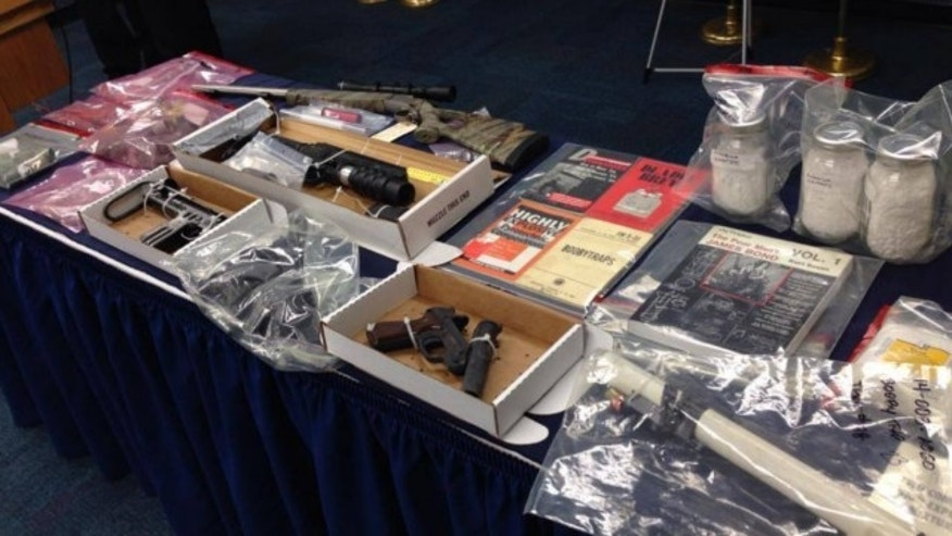 Jan. 7, 2014: Bomb-making materials seized from a home in Glen Burnie, Md., are displayed at a press conference held by the Anne Arundel County Police Department and other local authorities.