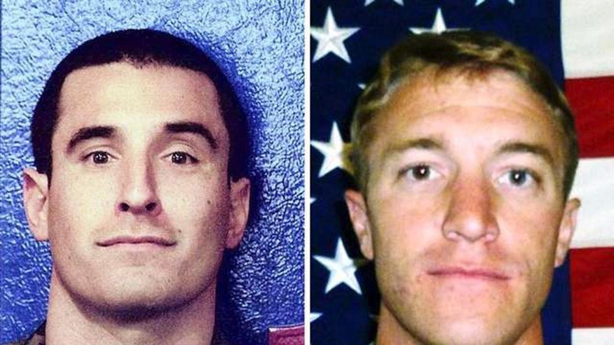 This photo combo provided by the U.S. Marine Corps shows Marine Capt. Matthew P. Manoukian, left, and Staff Sgt. Sky R. Mote who  will both posthumously receive the Navy Cross for actions while deployed to Afghanistan in 2012. The awards will be received by the families of the two during a ceremony Saturday, Jan. 18, 2014. (AP Photo/US Marine Corps)