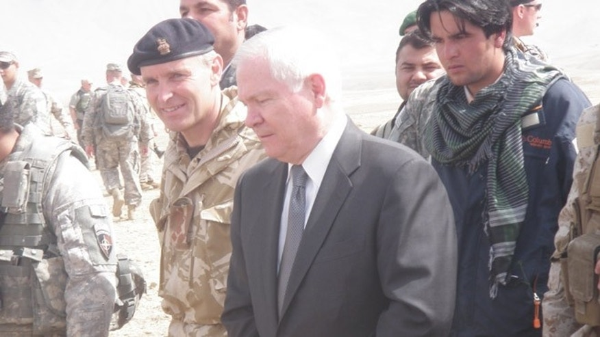 Shinwari is now helping others like Ajmal, seen here to the right of former defense secretary Robert Gates. Ajmal had only 48 hours to leave Afghanistan on his visa and arrived with his family without money or any place to go.  Shinwari has taken in Ajmal and his family in to his own home to help them until they get settled.