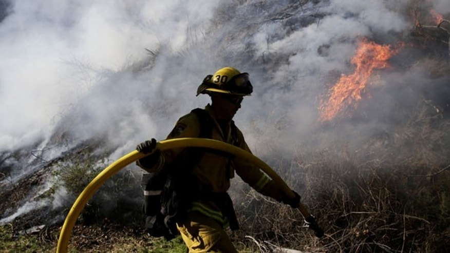January 17, 2014: Firefighter Jeff Newby carries a water hose as he battles the Colby Fire near Azusa, Calif. (AP Photo)