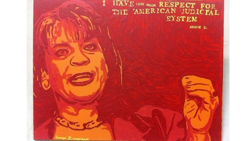 This undated photo provided by Robert Zimmerman Jr. shows a painting by his brother, George Zimmerman, portraying northeast Florida state attorney Angela Corey, the special prosecutor who charged him with second-degree murder in the 2012 shooting death of 17-year-old Trayvon Martin.
