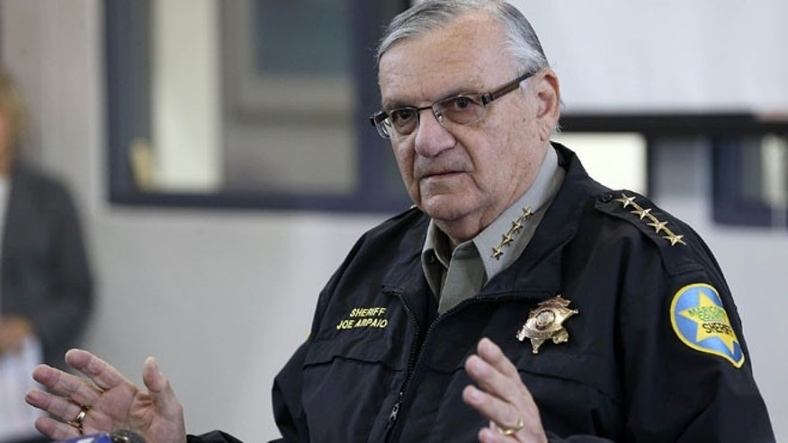 Feb. 9, 2013: Maricopa County Sheriff Joe Arpaio addresses the media about a simulated school shooting in Fountain Hills, Arizona.