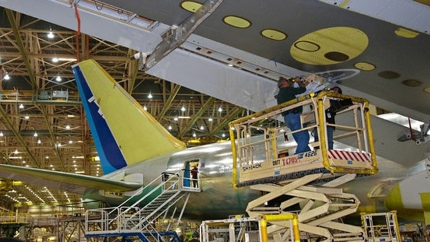 A Boeing 767 on the assembly line in 2011 (AP/Seattle Times)