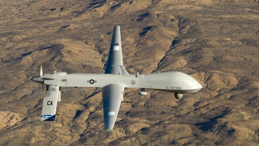 FILE 2013: A U.S. Air Force MQ-1 Predator unmanned aerial vehicle assigned to the California Air National Guard's 163rd Reconnaissance Wing flies near the Southern California Logistics Airport in Victorville, California.