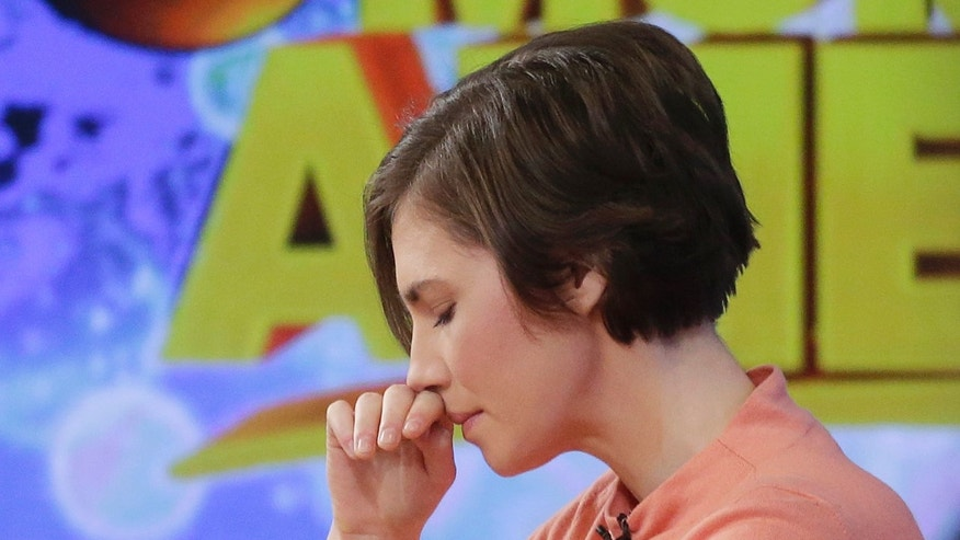 "Amanda Knox puts her hand to her face while making a television appearance, Friday, Jan. 31, 2014 in New York. Knox said she will fight the reinstated guilty verdict against her and an ex-boyfriend in the 2007 slaying of a British roommate in Italy and vowed to ""never go willingly"" to face her fate in that country's judicial system . ""I'm going to fight this to the very end,"" she said in an interview with Robin Roberts on ABC's ""Good Morning America."" (AP Photo/Mark Lennihan)"