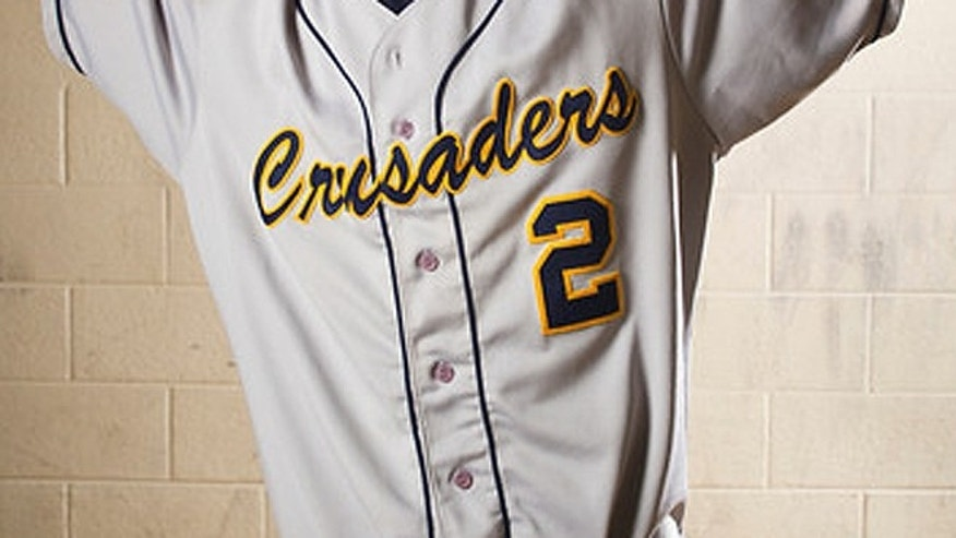 The 2013 'Crusaders' uniform, seen here in the men's baseball version, will be the last year in use at Maranatha Baptist University in Wisconsin. (MBBC.edu)