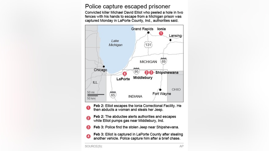 Map chronicles police efforts to capture an escapee from Ionia Correctional Facility. &#x3b; 2c x 5 inches&#x3b; 96.3 mm x 127 mm&#x3b;