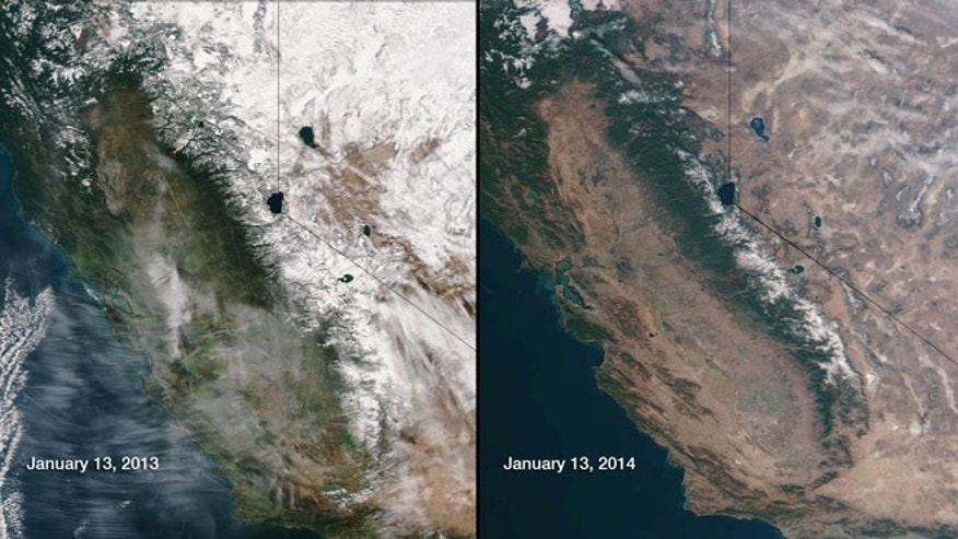 This image provided by NOAA compares January 13, 2013 and January 13, 2014 snow cover in Northern California and Nevada as seen by the Suomi NPP satellite.