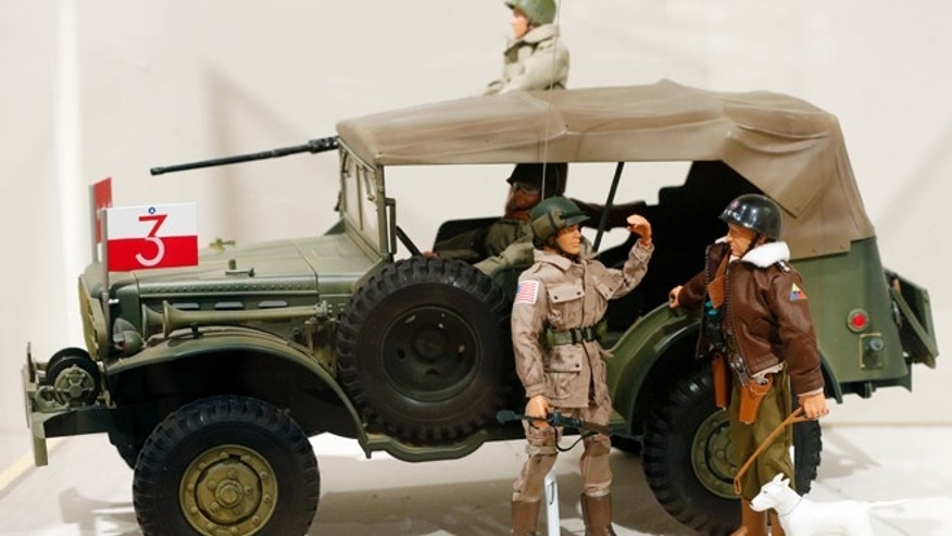 Jan. 31, 2014: This photo shows a Gen. George Patton G.I. Joe action figure, right, and other G.I. Joes in a display at the New York State Military Museum  in Saratoga Springs, N.Y.