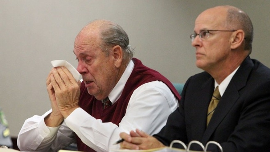 Feb 5: Retired Tampa Police captain Curtis Reeves, Jr., left, wipes his eyes as he listens to his daughter Jennifer Shaw testify in his bond reduction hearing at the Robert D. Sumner Judicial Center in Dade City, Fla.