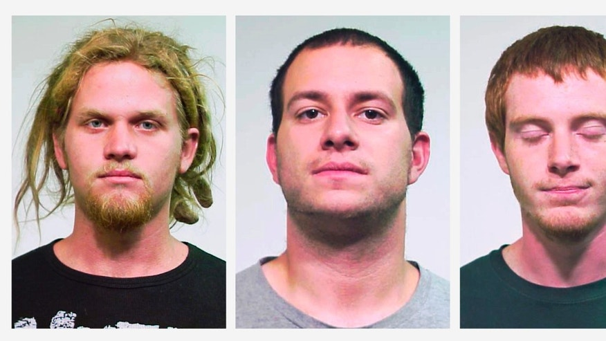 FILE - This combo made of undated file photos provided by the Chicago Police Department shows from left, Brent Vincent Betterly, of Oakland Park, Fla., Jared Chase, of Keene, N.H., and Brian Church, of Ft. Lauderdale, Fla. On Thursday, Feb. 6, 2014, closing are scheduled at Cook County Circuit Court in Chicago for the three men who are charged under Illinois terrorism statutes with plotting Molotov cocktail attacks during the 2012 NATO summit in Chicago. (AP Photo/Chicago Police Department, File)