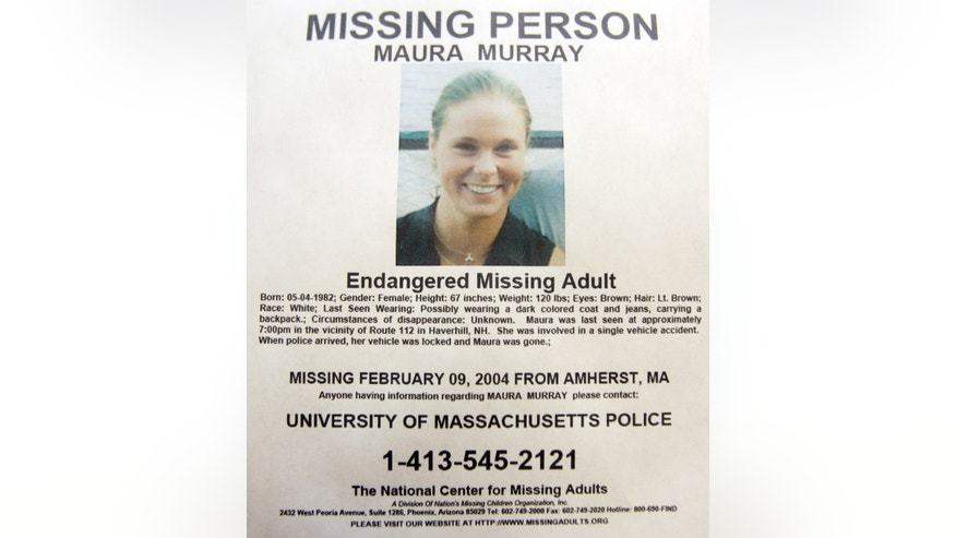 This Tuesday Feb. 4, 2014 photo shows a missing person poster of Maura Murray that hangs in the lobby of the police station in Haverhill, N.H. Ten years ago, the Massachusetts college student  drove off a road in a rural section of Haverhill in northern New Hampshire and hasn't been seen since. She left a tormented family, vexed investigators and a case rife with rumor and innuendo.  (AP Photo/Jim Cole)