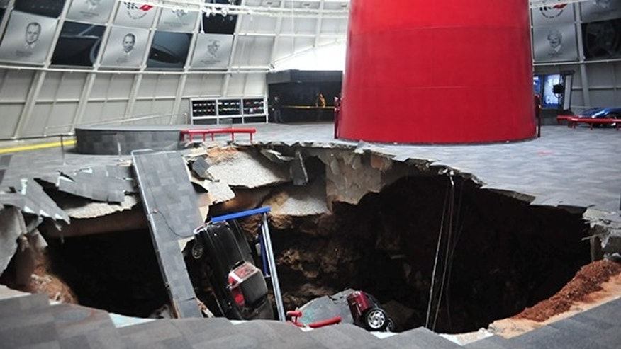 Feb. 12, 2014: The National Corvette Museum in Bowling Green, Ky., says eight cars have been swallowed at a sinkhole that opened up inside its facility Wednesday morning.