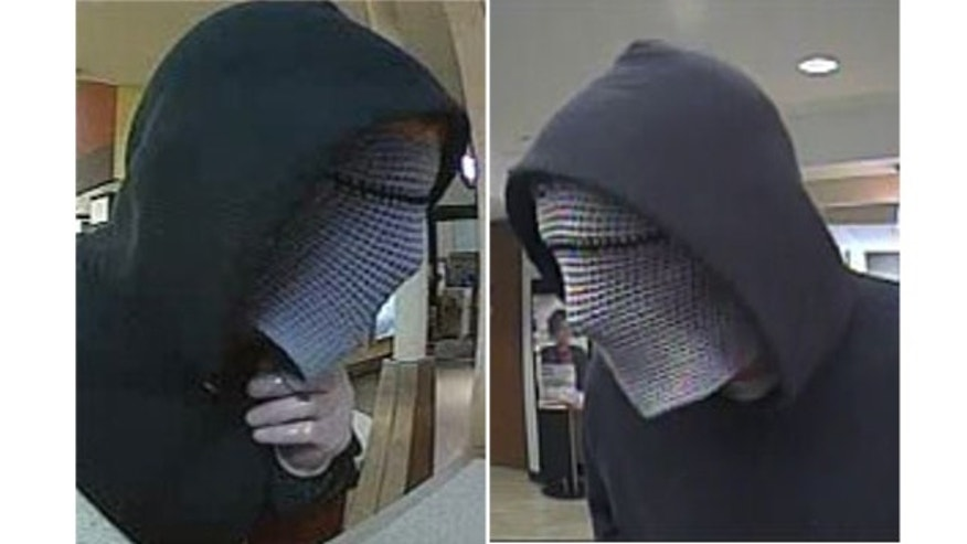 "A serial bank robber nicknamed the ""Cyborg Bandit"" is shown during separate robberies in Bellevue and Shoreline, Washington in 2013."