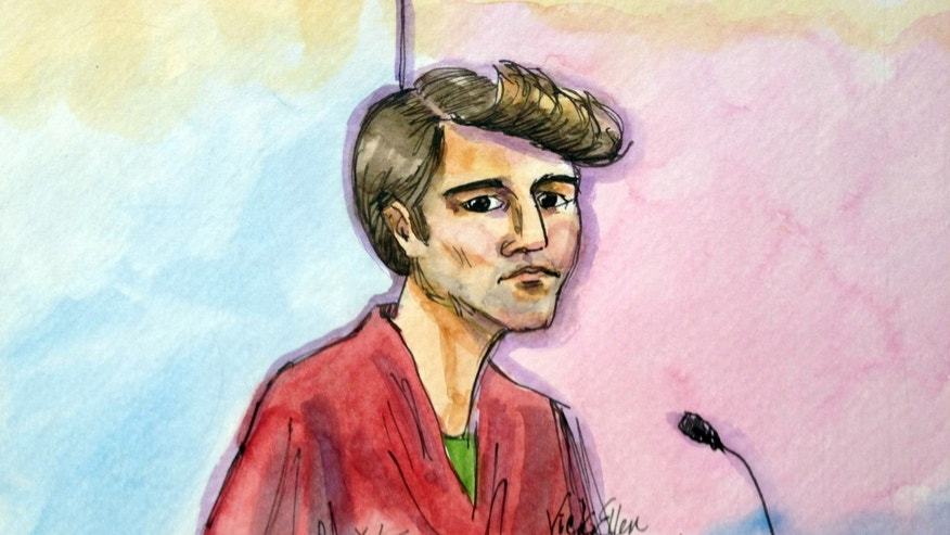 "FILE- In this Oct. 4, 2013 file photo, an artist rendering depicts Ross William Ulbricht during an appearance at federal court in San Francisco. Authorities say that Ulbricht had spent most of three years ""evading law enforcement, living a double life"" while operating an underground website known as Silk Road, a black-market bazaar for cocaine, heroin and other drugs, while portraying himself as an Internet trailblazer.  Authorities say an investigation of Liberty Reserve, and more recently that of Silk Road, demonstrate how the anonymity inherent in virtual currency transactions is attracting legions of flesh-and-blood criminals.   (AP Photo/Vicki Behringer, File)"