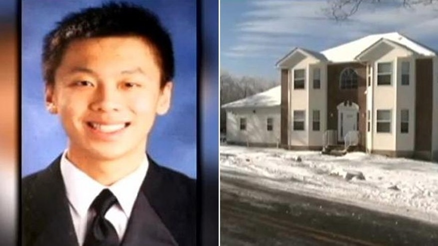 "The death of Chen ""Michael"" Deng, shown left in a handout photo, has been ruled a homicide. Deng died of injuries inflicted by more than one person during a suspected hazing ritual at a house his fraternity rented out in Pennsylvania."