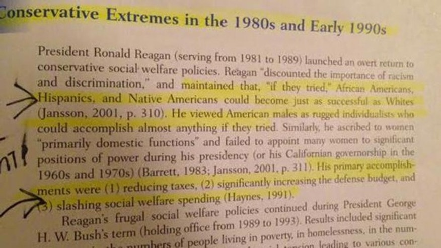 "A page from the textbook ""Introduction to Social Work & Social Welfare: Critical Thinking Perspectives"" falsely accuses President Ronald Reagan of not appointing women to prominent policy-making positions"
