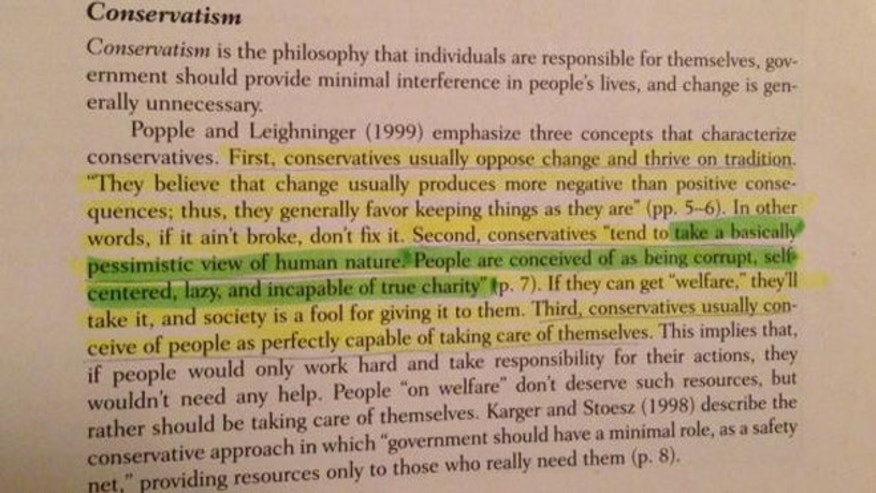 "Another section of the book paint conservatives as having a general contempt for the public, claiming that they view most people as ""corrupt, sefl-centered, and lazy."""