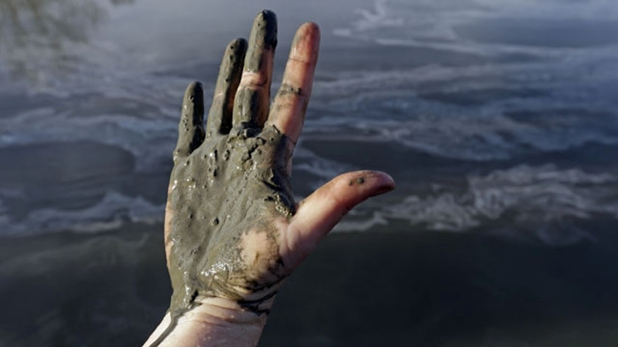 February 5, 2014: Amy Adams, North Carolina campaign coordinator with Appalachian Voices, shows her hand covered with wet coal ash from the Dan River swirling in the background as state and federal environmental officials continued their investigations of a spill of coal ash into the river in Danville, Va. Duke Energy estimates that up to 82,000 tons of ash has been released from a break in a 48-inch storm water pipe at the Dan River Power Plant in Eden N.C. on Sunday. (AP Photo/Gerry Broome)