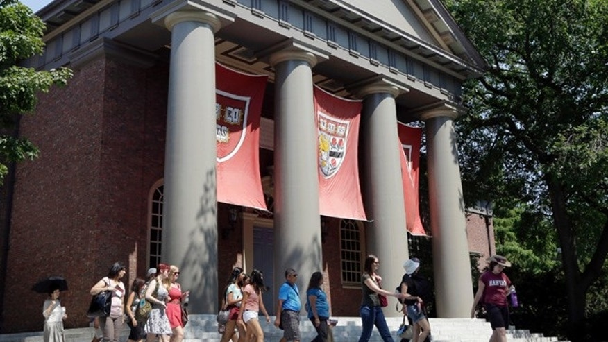 Aug. 30, 2012: People are led on a tour group at the campus of Harvard University in Cambridge, Mass.  (AP)