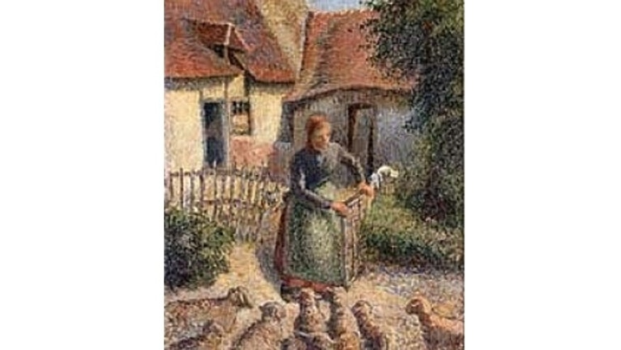 """Shepherdess Bringing in Sheep"" by Camille Pissarro was donated to the University of Oklahoma's Fred Jones Jr. Museum of Art in 2000."