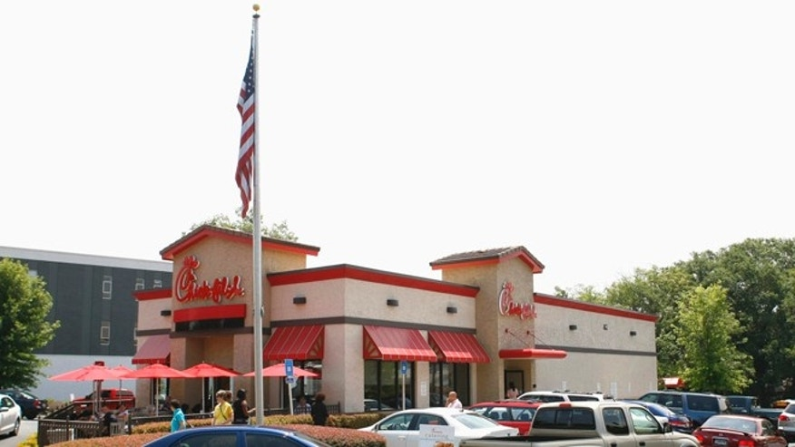Aug. 3, 2012: Cars surround a Chick-Fil-A restaurant during lunch time in Decatur, Georgia.