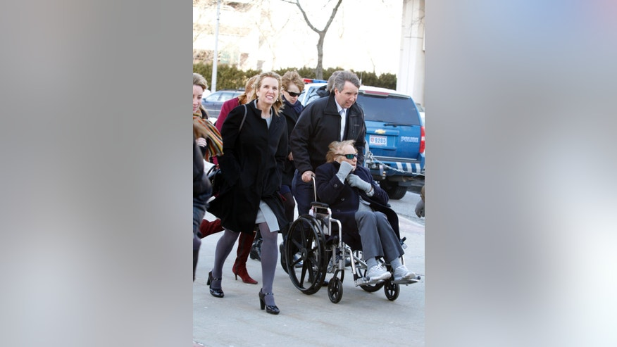From left, Kerry Kennedy, Douglas Kennedy and Ethel Kennedy and other family and supporters enter the Westchester County Courthouse in White Plains after a lunch break Wednesday, Feb. 24, 2014, on the first day of Kerry Kennedy's drugged-driving trial. Kerry Kennedy, the ex-wife of New York Gov. Andrew Cuomo and the niece of the late President John F. Kennedy, was arrested in 2012 after her car hit a tractor-trailer on an interstate highway near her home outside New York City. She drove to the next exit, where she failed a sobriety test, police said. (AP Photo/The Journal News, Ricky Flores) NYC OUT, NO SALES, ONLINE OUT, TV OUT, NEWSDAY INTERNET OUT; MAGS OUT