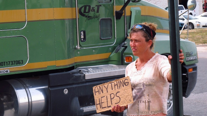 In this photo from Feb. 24, 2014, a homeless woman, who gave her name as only Katt, stands on a street corner in Midland, Texas, trying to get donations from motorists. Two Midland police officers were disciplined with a three-day suspension recently for having a contest to see who could confiscate the most signs from homeless people. (AP Photo/Betsy Blaney)