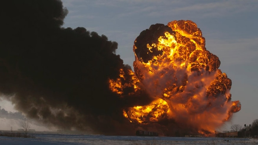 Dec. 30, 2013: A fireball goes up at the site of an oil train derailment in Casselton, N.D.