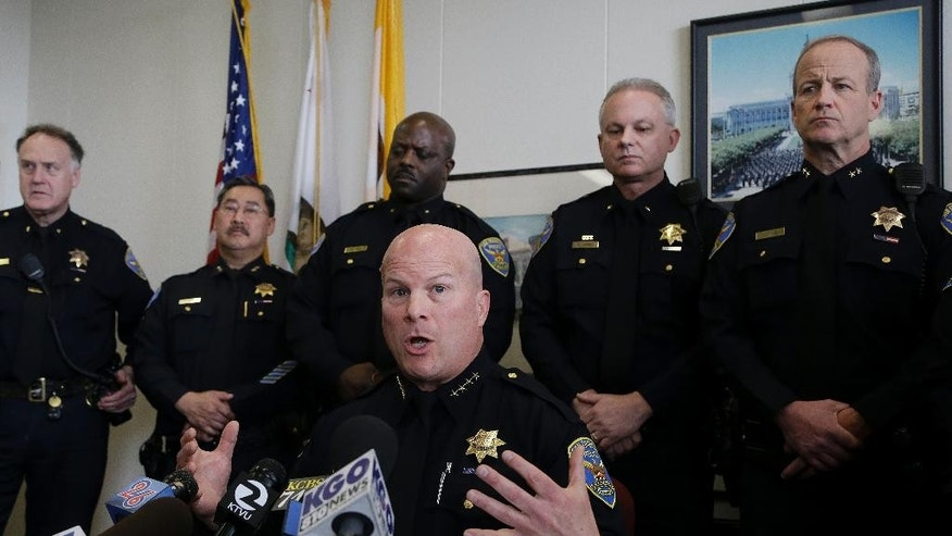 San Francisco Police Chief Greg Suhr speaks during a news conference at the Hall of Justice in San Francisco, Thursday, Feb. 27, 2014. Federal grand juries have indicted five San Francisco police officers, with two charged with stealing money and drugs seized as part of investigations, federal prosecutors announced on Thursday. Those two officers and a former officer were also charged with distributing controlled substances and stealing computers, electronic devices and gift cards from suspects. (AP Photo/Jeff Chiu)