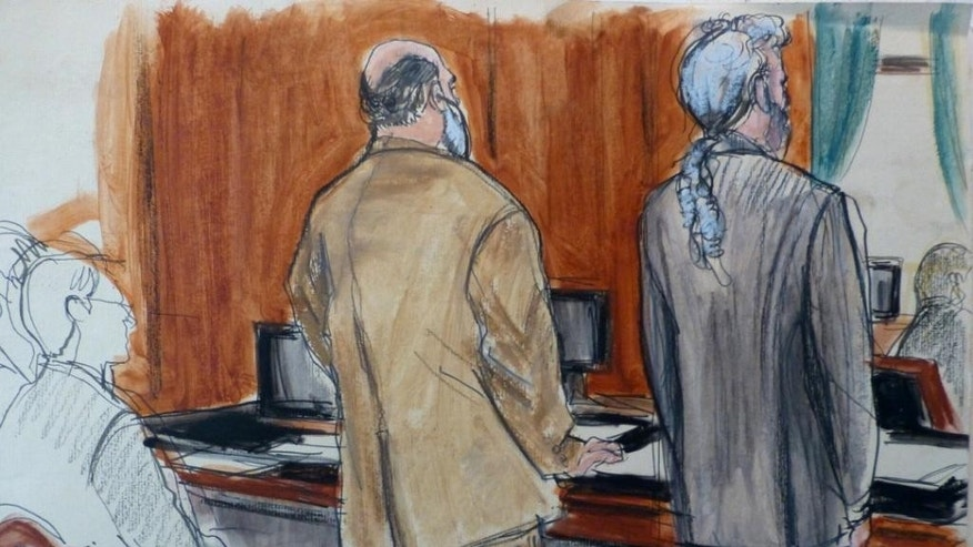 In this courtroom sketch, Sulaiman Abu Ghaith, center, in beige suit,  stands next to his defense attorney Stanley Cohen Monday, March 3, 2014 during jury selection at the start of Abu Ghaith's trial in New York on charges that he conspired to kill Americans and support terrorists in his role as al-Qaida's spokesman after the Sept. 11 attacks. Abu Ghaith is Osama bin Laden's son-in-law and is  the highest-ranking al-Qaida figure to face trial on U.S. soil since the Sept. 11 attacks. (AP Photo/Elizabeth Williams)