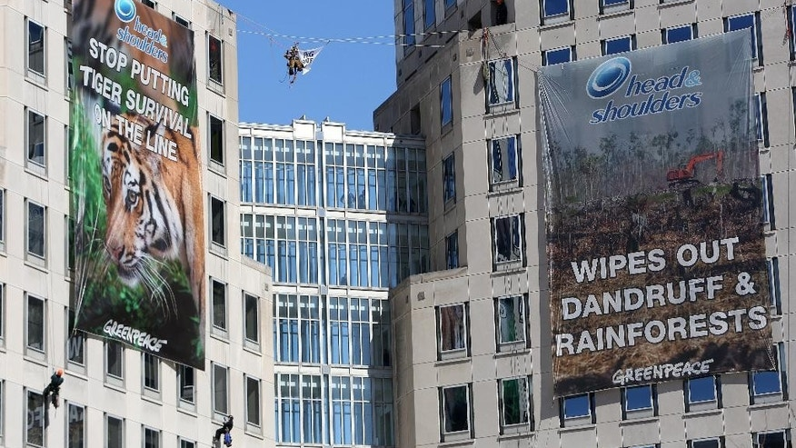 Nine Greenpeace activists rappel and hang banners in protest of Procter & Gamble outside of the company's headquarters, in Cincinnati, Tuesday, March 4, 2014. The environmental organization says the 60-foot banners on P&G's two towers were in protest of the consumer products company's use of palm oil from a supplier that Greenpeace says is linked to tropical forest destruction in Indonesia. (AP Photo/The Cincinnati Enquirer Amanda Rossmann)