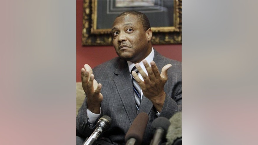 An exonerated Anthony Graves speaks at a news conference Thursday, Oct. 28, 2010 in Houston.