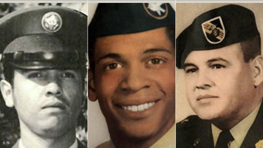 Only three of the Medal of Honor winners being awarded today, all veterans of the Vietnam War, are alive. From left: Spc. Santiago Erevia, Staff Sgt. Melvin Morris and Sgt. 1st Class Jose Rodela. ((All photos courtesy U.S. Army)