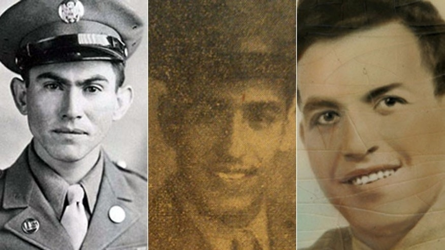 Pvt. Pedro Cano, (l.), will be honored for heroism while serving with the 4th Infantry Division in Schevenhutte, Germany, Dec. 3, 1944. Pvt. Joe Gandara (c.) fought with the 17th Airborne Division in  France on June 9, 1944. Pfc. Salvador Lara served as Squad Leader of a infantry rifle squad in Italy on May 27 and 28, 1944.