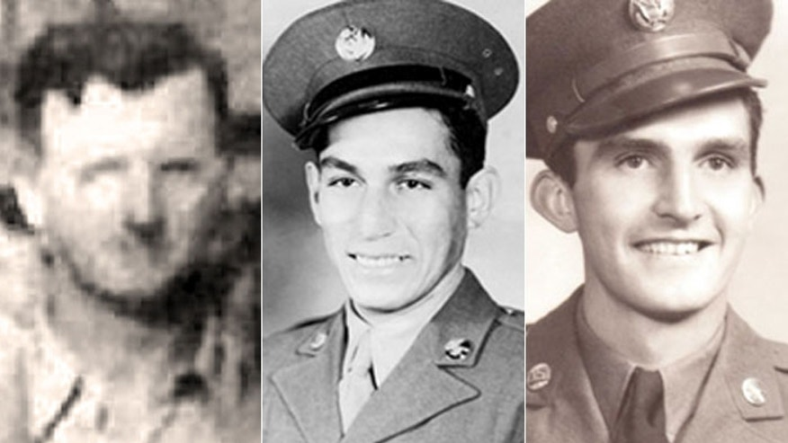 Sgt. William Leonard (l.) was a Squad Leader in the 3d Infantry Division, serving in France Nov. 7, 1944. Staff Sg Manuel Mendoza (c.), a platoon sergeant in the 88th Infantry Division, fought in Italy on Oct. 4, 1944. 1st Lt. Donald Schwab was a company commander in the 3d Infantry Division in France on Sept. 17, 1944.