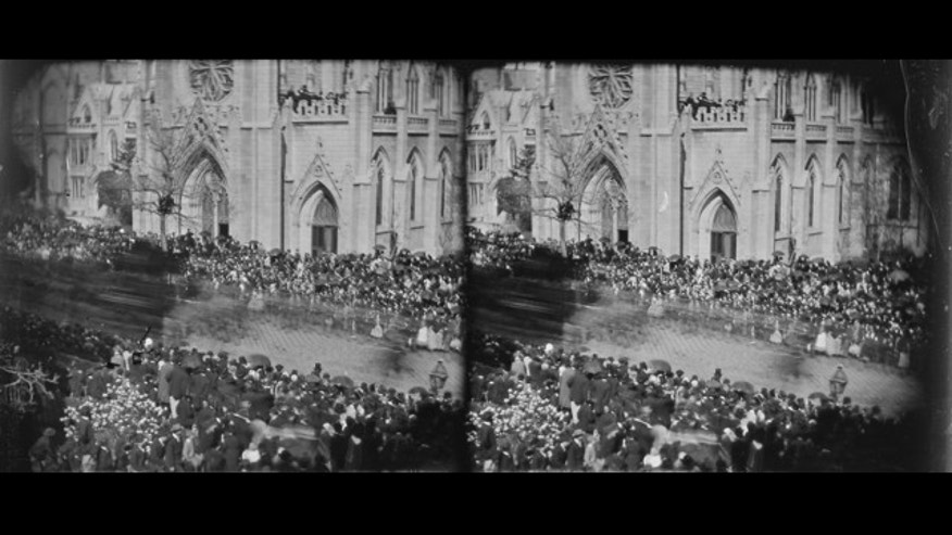 This photograph is believed to show President Abraham Lincoln's catafalque moving past Grace Episcopal Church in New York on April 24 or 25, 1865, according to The Washington Post.