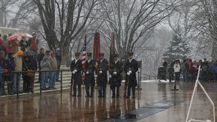 March 25, 2014: A wreath laying ceremony for National Medal of Honor day is held at Arlington Cemetery.