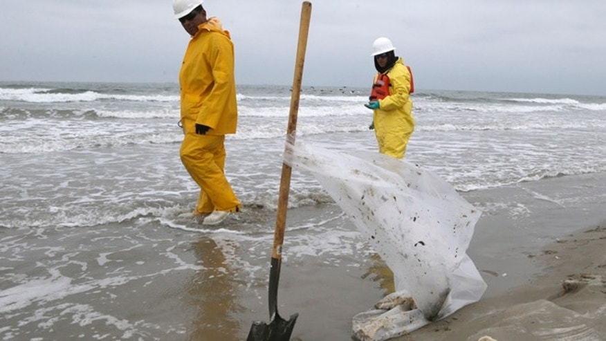 March 24, 2014: Workers walk along East Beach in Galveston, Texas, looking for pieces of oil tar.