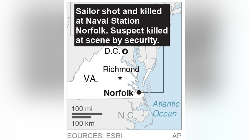 Map locates naval station shooting&#x3b; 1c x 2 inches&#x3b; 46.5 mm x 50 mm&#x3b;