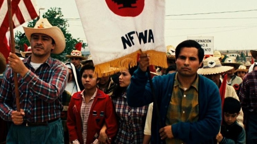 "This photo released by Pantelion Films shows Michael Pena as Cesar Chavez in a scene from ""Cesar Chavez."" The new biopic opens Friday, March 28, 2014. (AP Photo/Pantelion Films, file)"