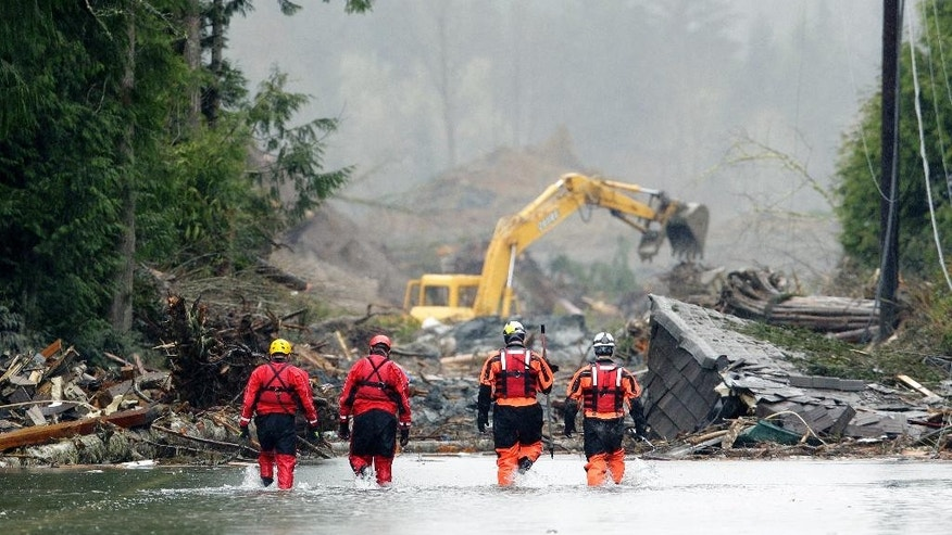 Four search and rescue workers wade through water covering Washington Highway 530 Thursday, March 27, 2014, on the eastern edge of the massive mudslide that struck Saturday near Darrington, Wash. as heavy equipment moves trees and other debris in the background. (AP Photo/Ted S. Warren, Pool)