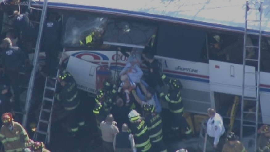 Rescue teams responded Tuesday morning to an accident on New York's Long Island.