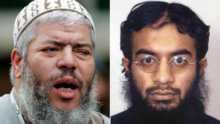 This split photo shows Muslim cleric Abu Hamza al-Masri, left, and Saajid Badat, right.