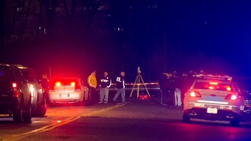 April 5, 2014: Police investigate the scene of an accident on a dead-end street where a car containing five passengers plunged into Steinway Creek in the Astoria neighborhood of Queens in New York.