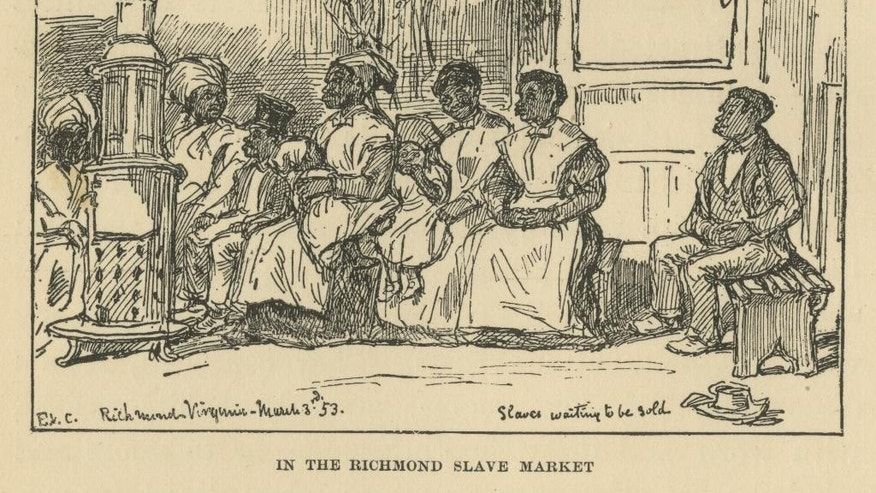 This photo provided by the Library of Virginia shows a depiction of the Richmond slave market by Eyre Crowe, who visited the city's slave-trading center in 1853.The city was a slave-trading center, second only to New Orleans, in the half-century leading to the Civil War. A proposal to build a minor league baseball stadium in Shockoe Bottom, the city's oldest neighborhood and the center of the once-thriving slave trade, has drawn criticism from some who believe the area is sacred ground and shouldn't be bulldozed for a ballpark. The city says it will recover and display artifacts related to the slave trade.  (AP Photo/Library of Virginia)